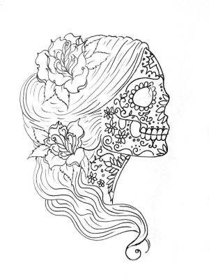 coloring pages mindfulness simple skull printable drawing sugar getcolorings