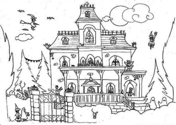 haunted coloring halloween pages drawing printable houses monster satanic spooky colouring draw print dessin getdrawings getcolorings beatiful visit colori