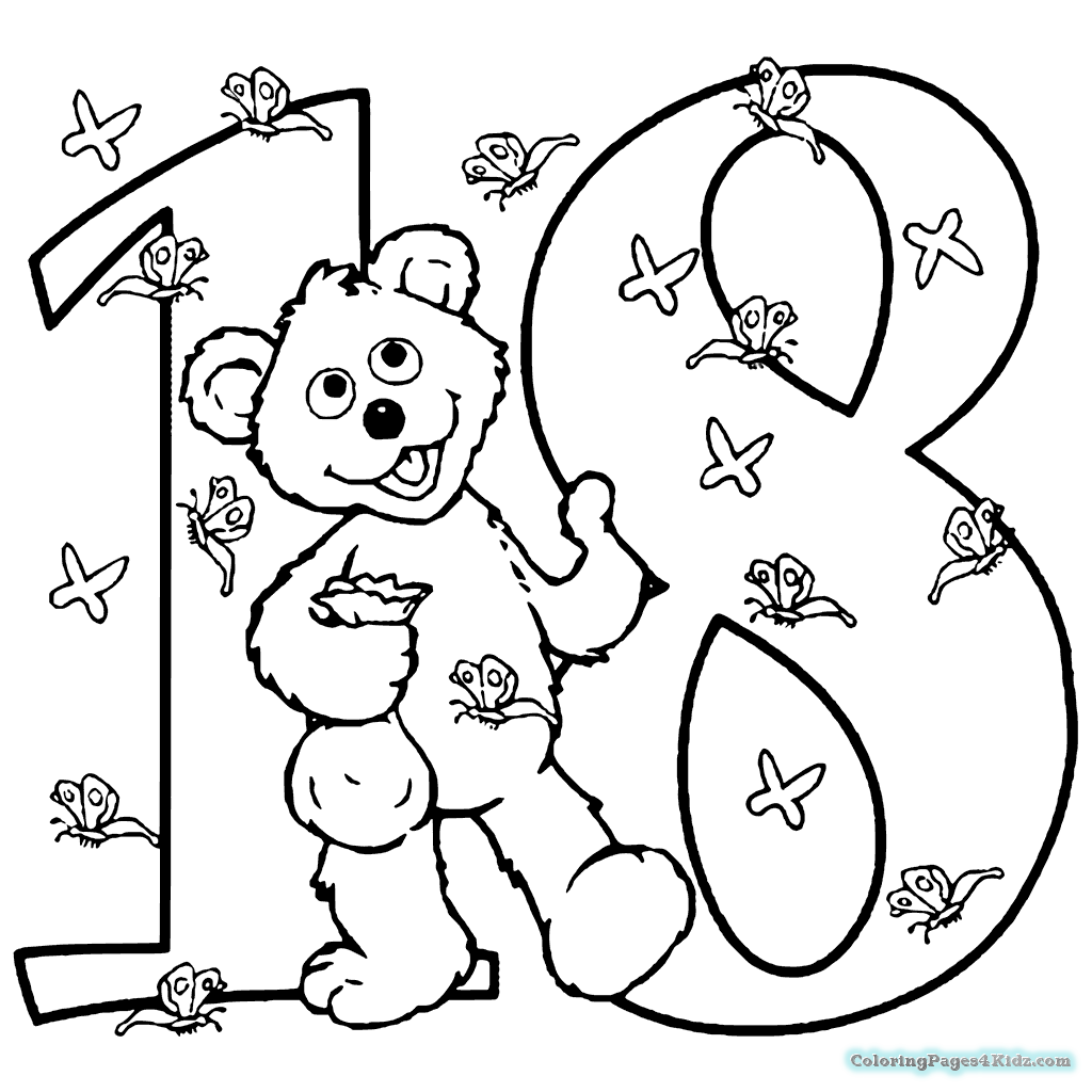Number 18 Coloring Page At Getcolorings