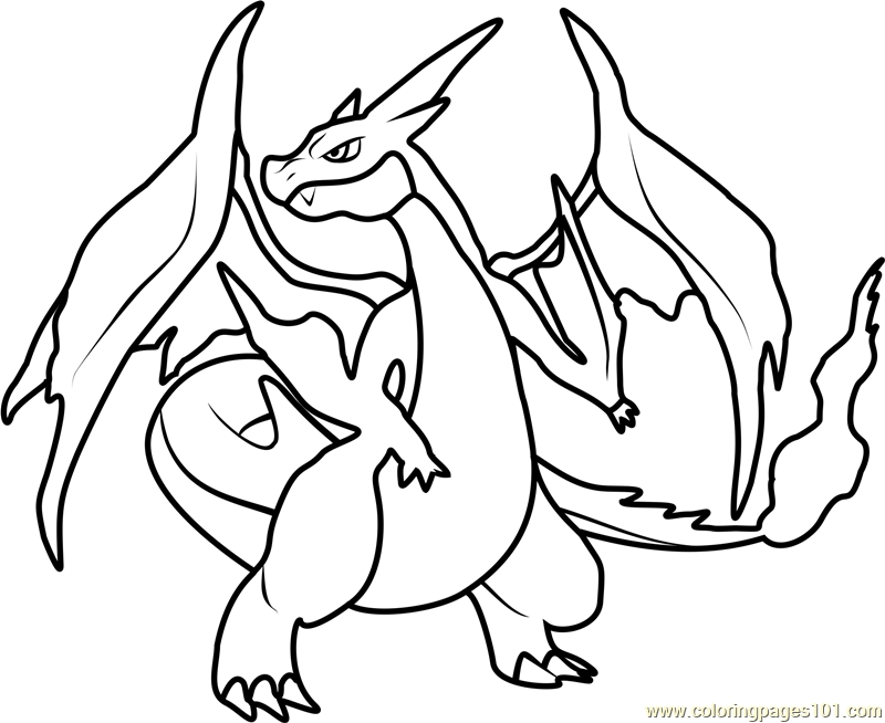 Mega Charizard X Coloring Page At Getcolorings Com