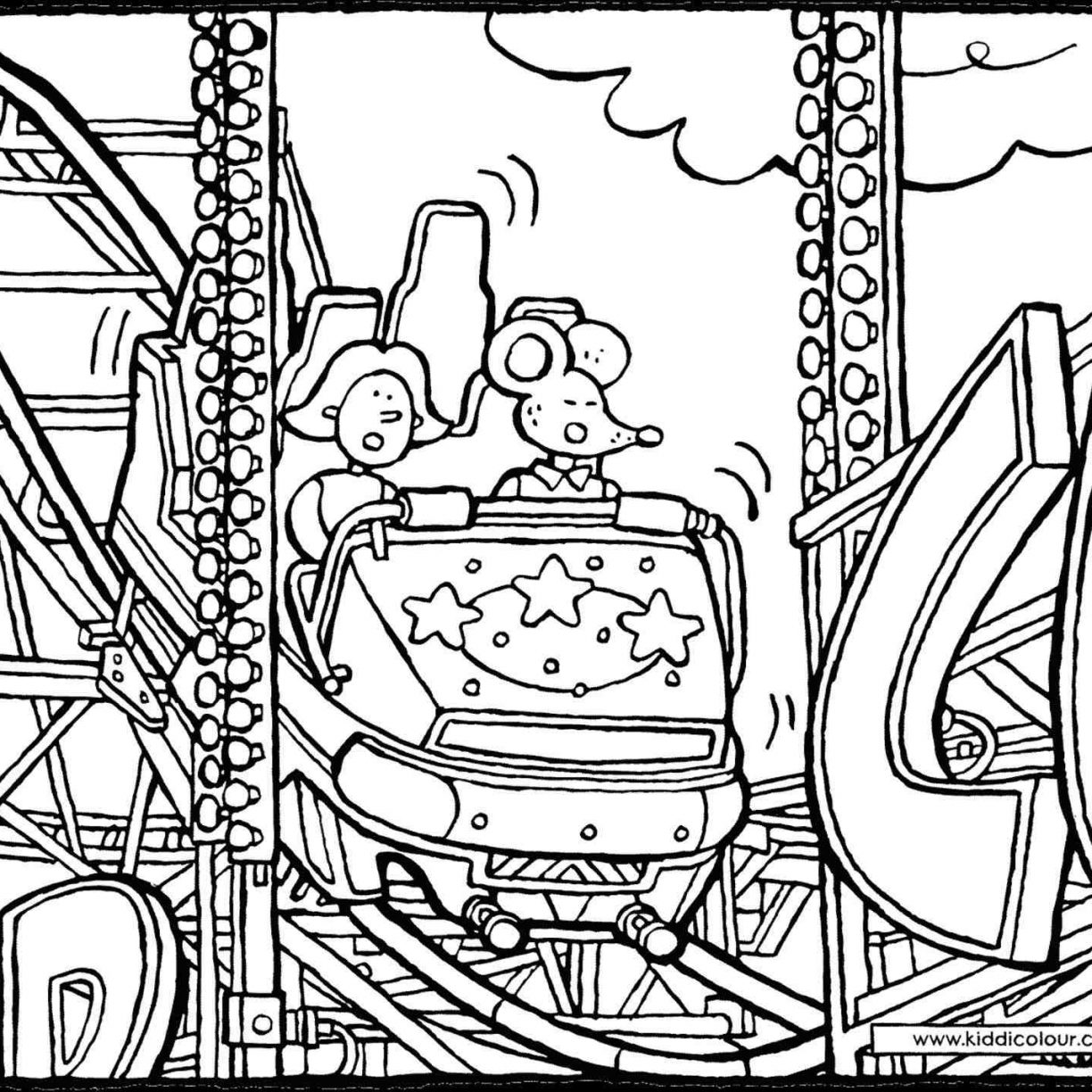 Roller Coaster Car Drawing Sketch Coloring Page