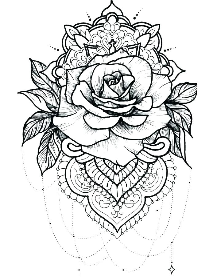 Heart With Roses Coloring Pages At Getcolorings Com