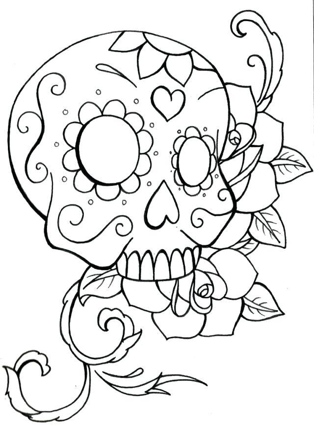 Sugar Skull Coloring Pages Pdf Free Download at