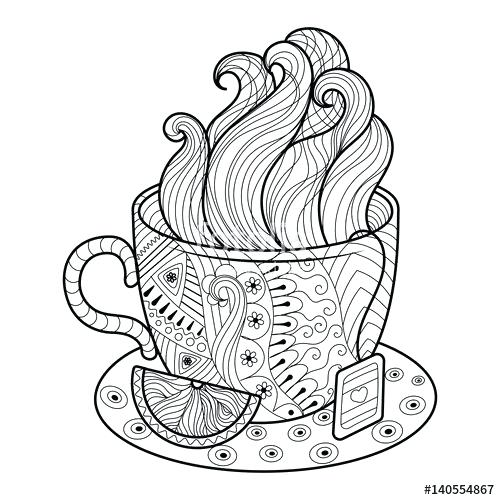 tea cup coloring page at getcolorings  free printable