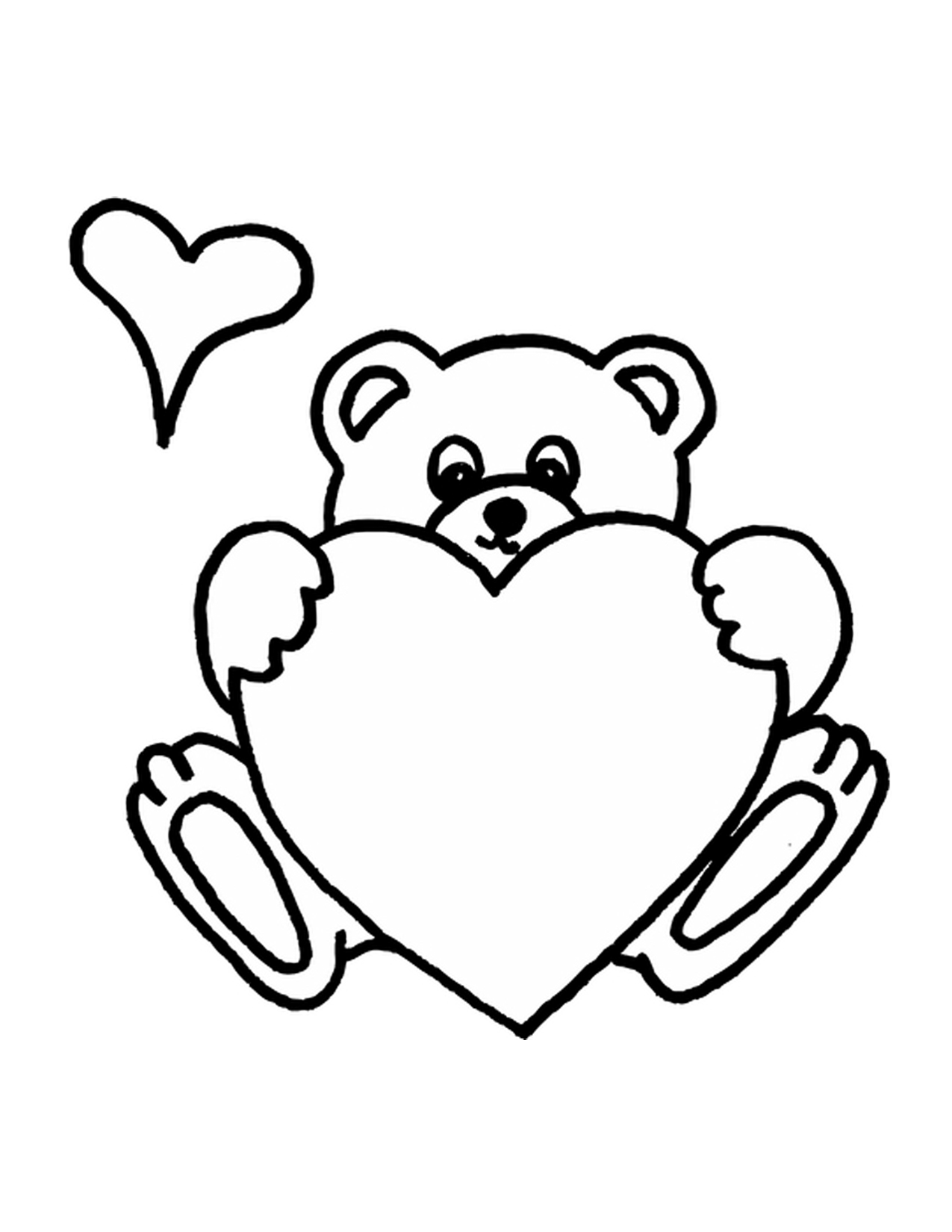 Teddy Bear Holding A Heart Coloring Pages At Getcolorings