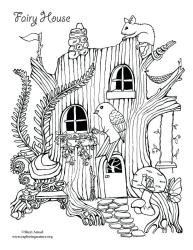 coloring fairy pages tree drawing printable print pdf nature printing support