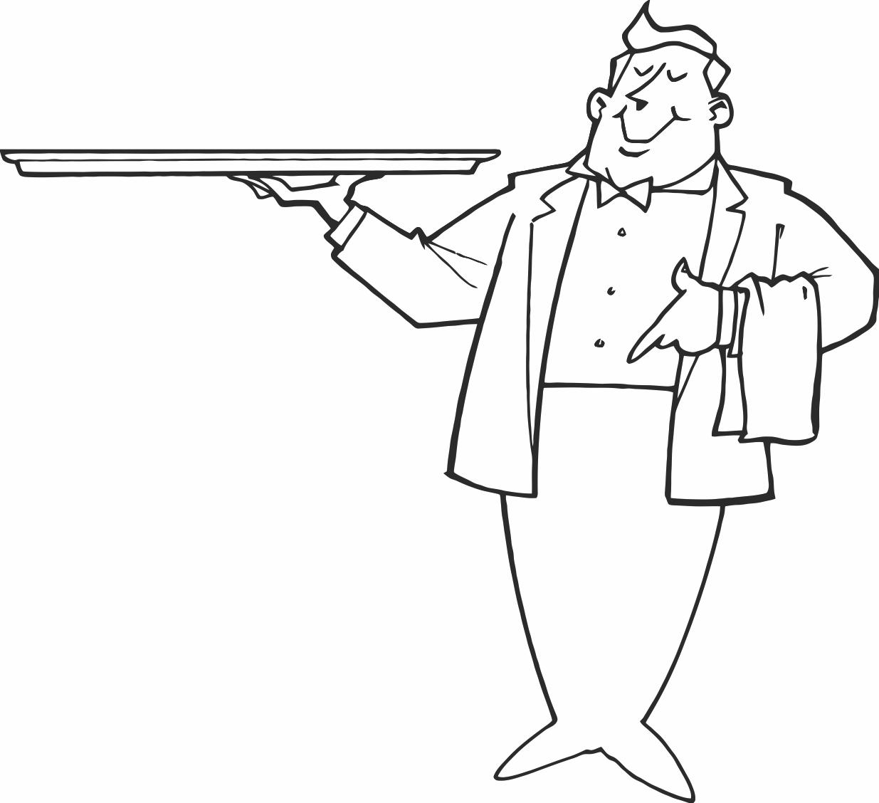 Waiter Coloring Page At Getcolorings