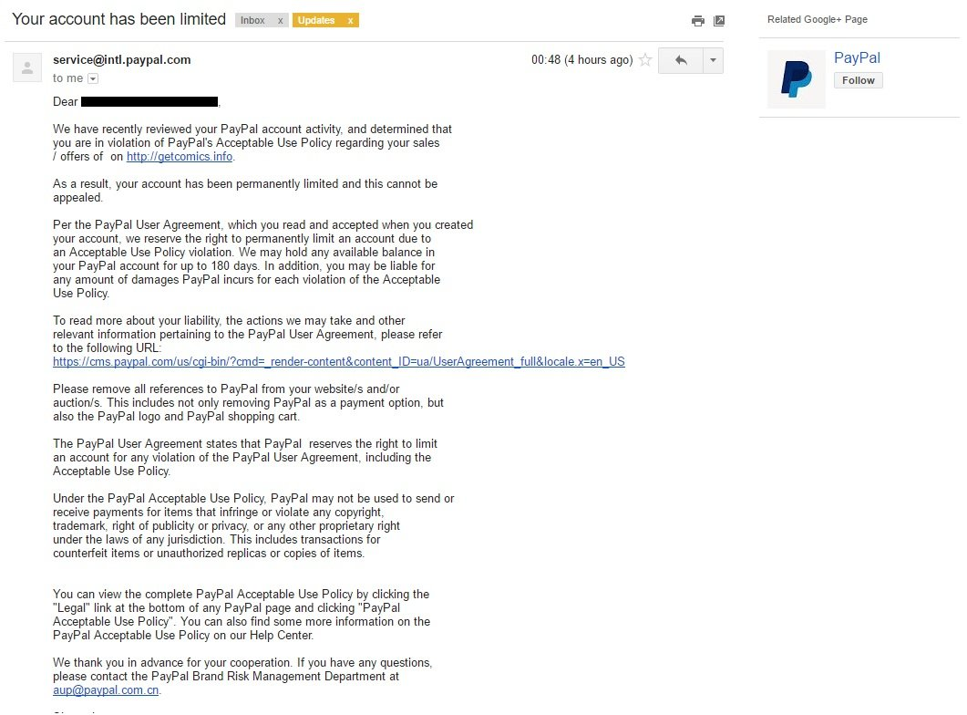 GetComics Paypal Notice