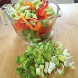 Chopped stir fry veggies
