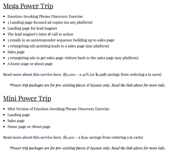 See how the Mini Power Trip offers a small savings, but it's still $291? I went really big on the Mega Power Trip's savings because I knew how much time it would take me and that I could still be crazy profitable at that price point. (And that 40% savings—$1,998—is the definition of a no-brainer.)