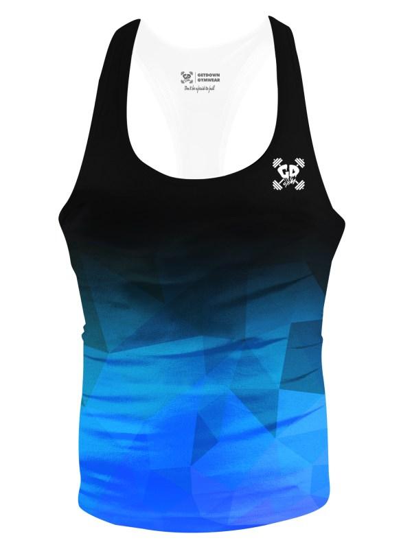 black blue geometric fade stringer vest