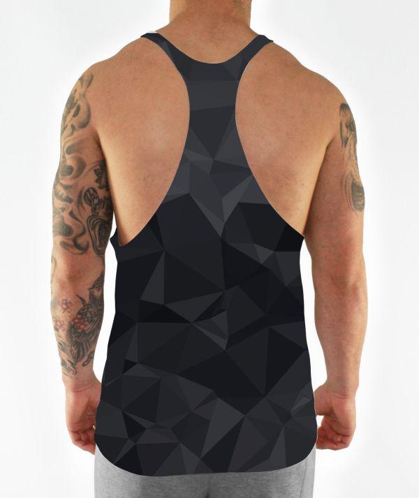 black geometric stringer vest back model view