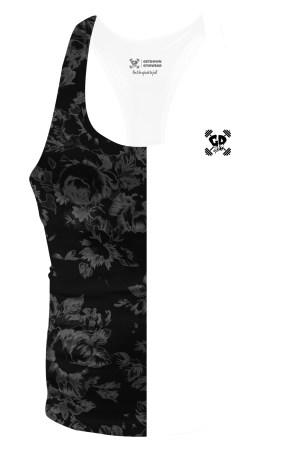 half black floral stringer vest