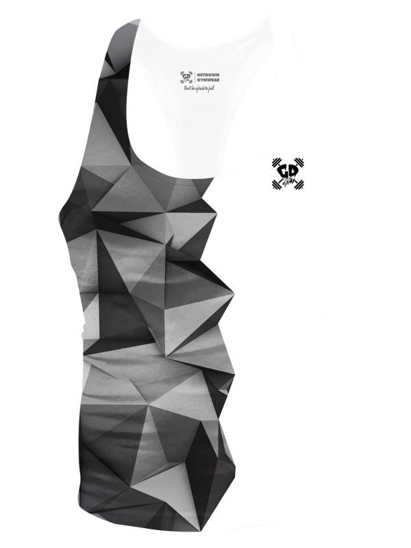 half grey geometric stringer vest
