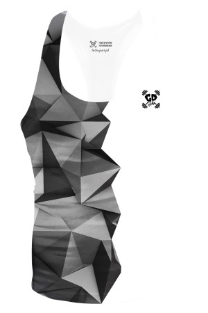 half grey geometric stringer vest