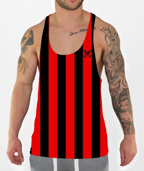 red stripes stringer vest front model view