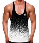 Gradient Speckled Black White Stringer Vest
