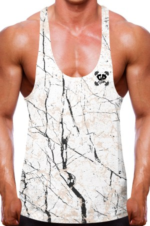 Cracked White Marble Stringer Vest