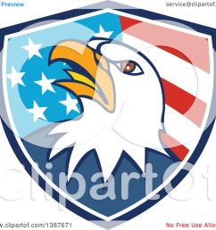 1080x1024 clipart of a cartoon bald eagle head in an american flag shield [ 1080 x 1024 Pixel ]
