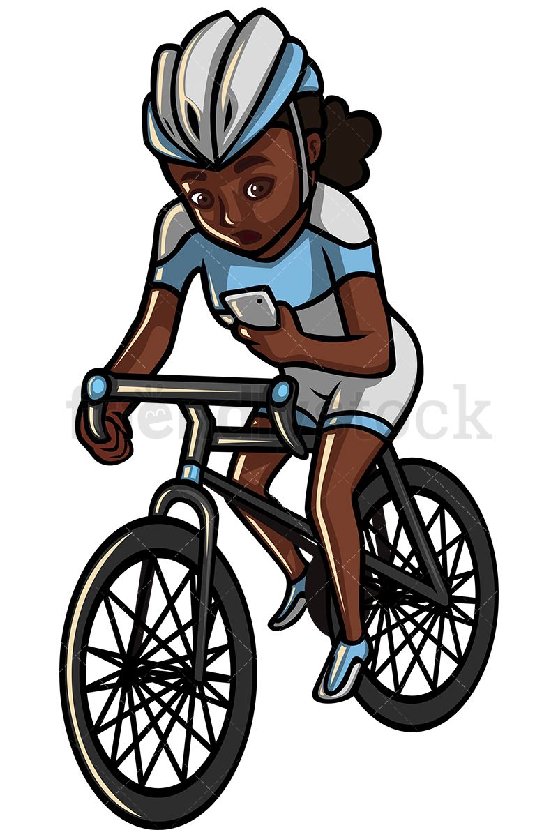 hight resolution of 800x1200 black woman texting while riding a bike vector cartoon clipart