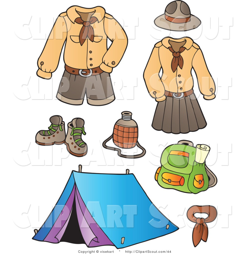 medium resolution of 1024x1044 clipart of scout uniforms and camping gear digital collage by