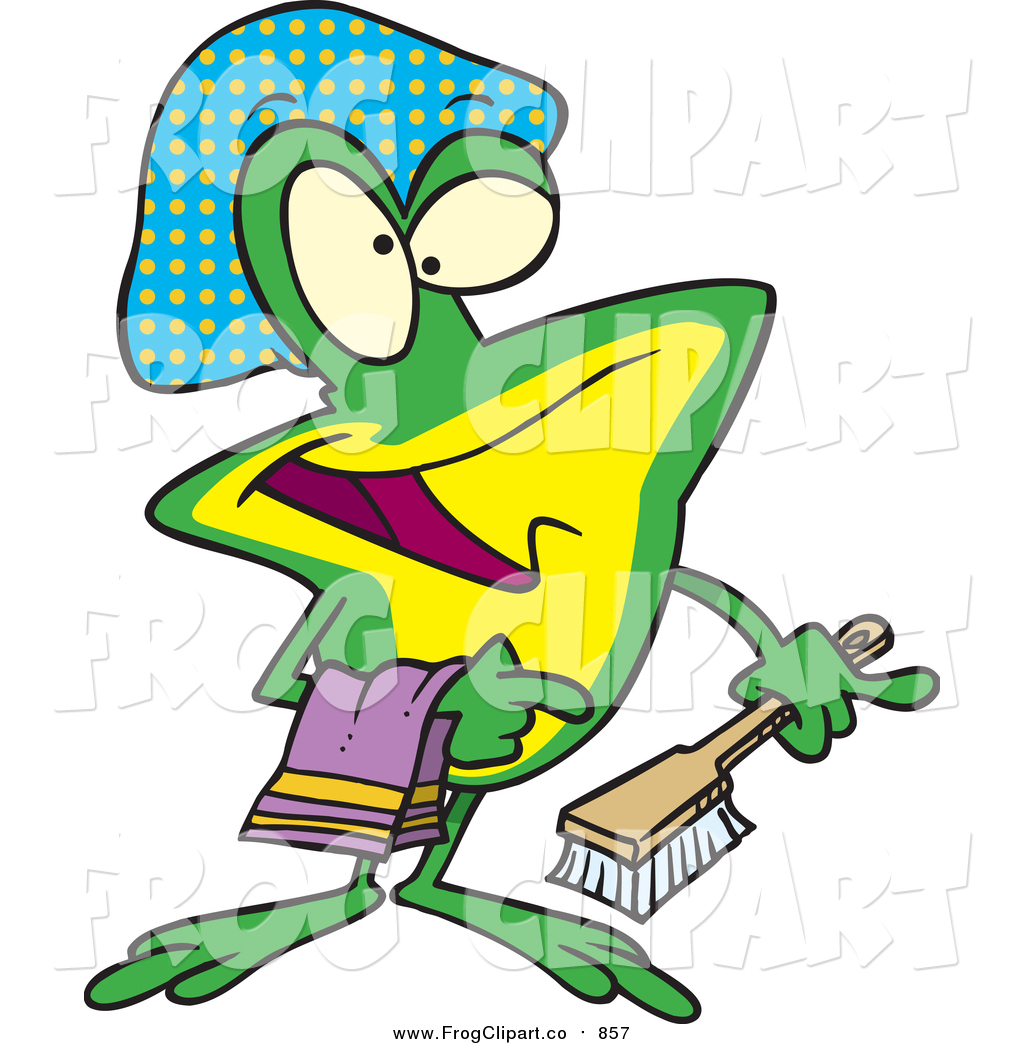 hight resolution of 1024x1044 clip art of a cartoon frog with shower items by toonaday