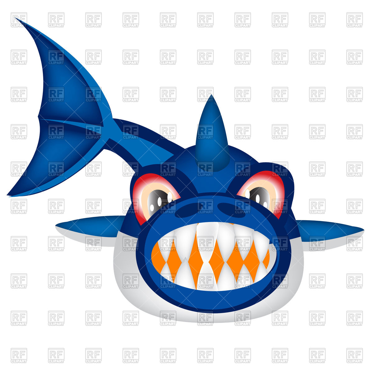 hight resolution of 1200x1200 cartoon shark front view royalty free vector clip art image