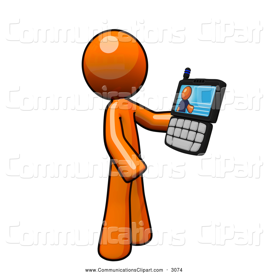 hight resolution of 1024x1044 communication clipart of an orange man having a video conference