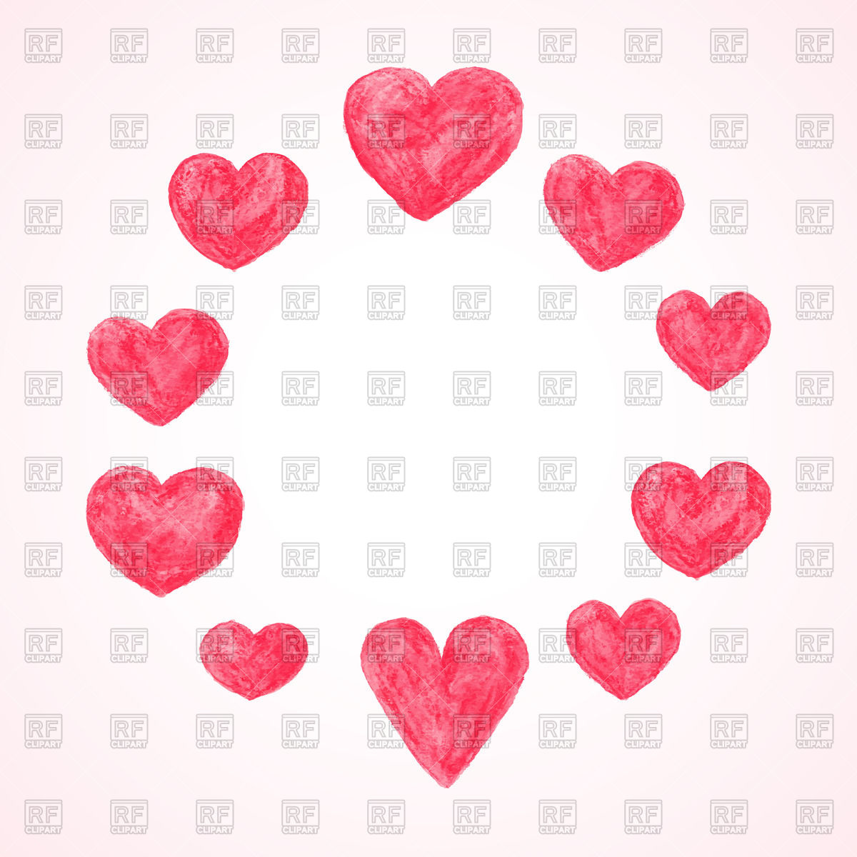 hight resolution of 1200x1200 round frame made of watercolor hearts