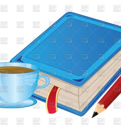 1200x960 cup of coffee and book with bookmark royalty free vector clip art [ 1200 x 960 Pixel ]