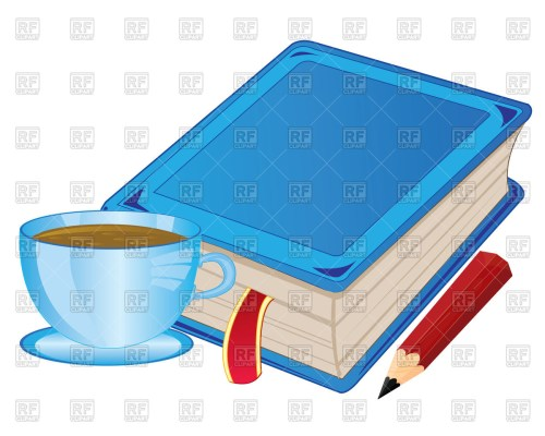 small resolution of 1200x960 cup of coffee and book with bookmark royalty free vector clip art