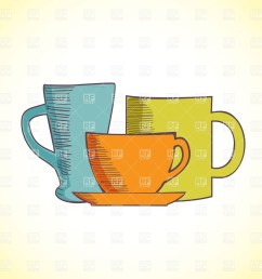 1200x1200 three colored coffee cups royalty free vector clip art image [ 1200 x 1200 Pixel ]