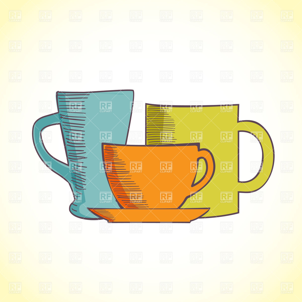 hight resolution of 1200x1200 three colored coffee cups royalty free vector clip art image