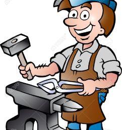 967x1300 17901074 hand drawn vector illustration of an happy blacksmith [ 967 x 1300 Pixel ]