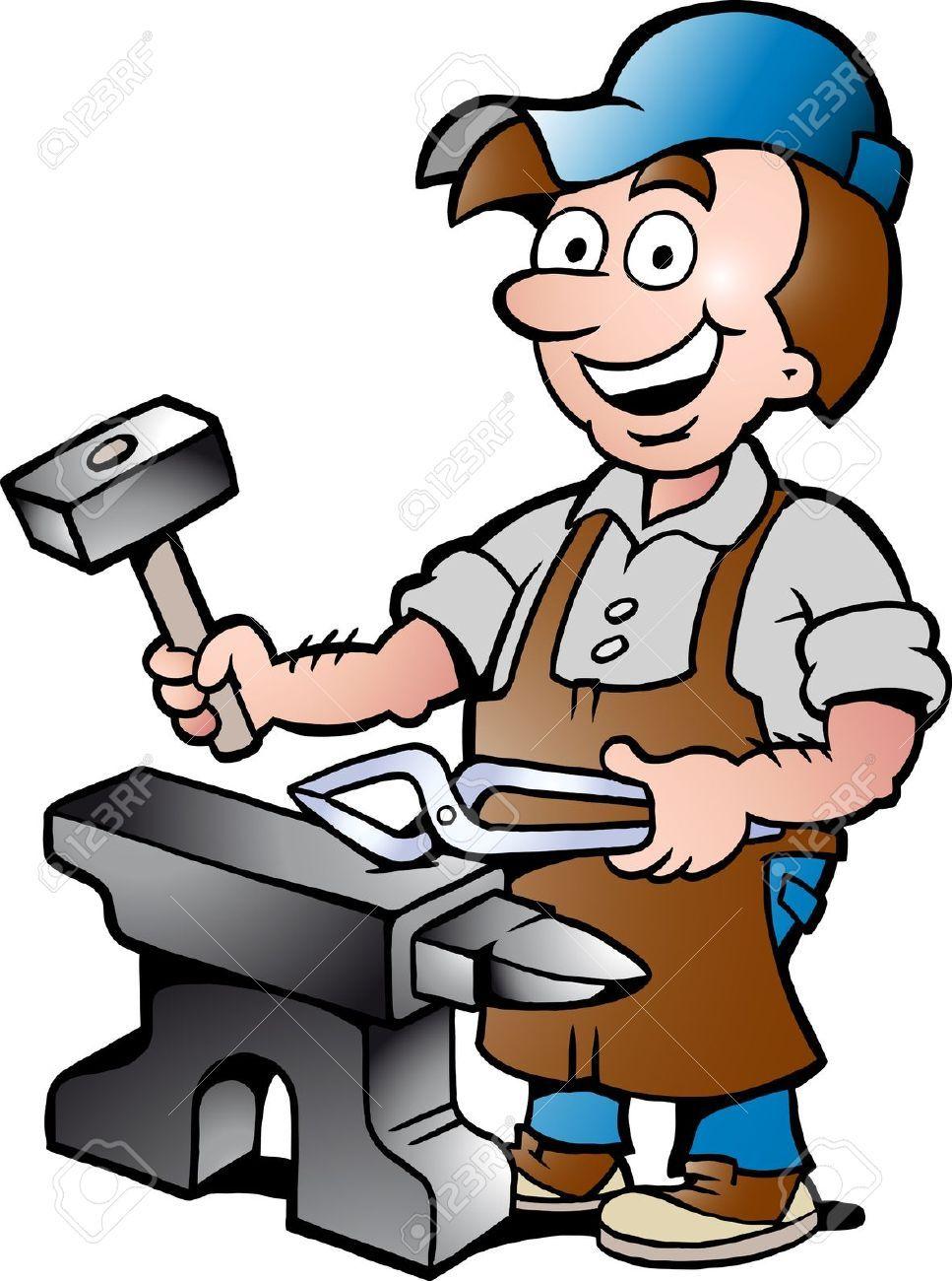 hight resolution of 967x1300 17901074 hand drawn vector illustration of an happy blacksmith