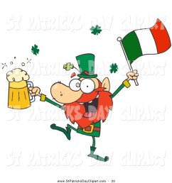 1024x1044 clip art of a drunk irish leprechuan dancing with beer and a flag [ 1024 x 1044 Pixel ]