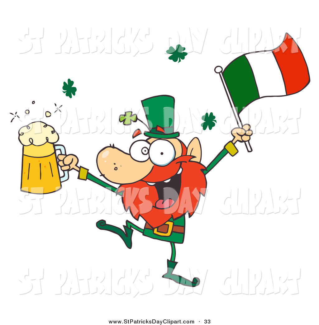 hight resolution of 1024x1044 clip art of a drunk irish leprechuan dancing with beer and a flag