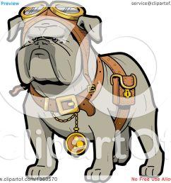 1080x1024 clipart of a cartoon steampunk bulldog explorer wearing a pouch [ 1080 x 1024 Pixel ]