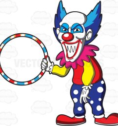 1024x1006 a scary looking clown holding a hula hoop cartoon clipart vector [ 1024 x 1006 Pixel ]