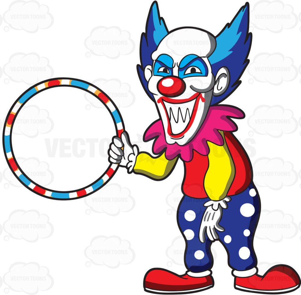 medium resolution of 1024x1006 a scary looking clown holding a hula hoop cartoon clipart vector