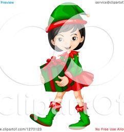 1080x1024 clipart of an asian christmas elf girl carring a gift [ 1080 x 1024 Pixel ]