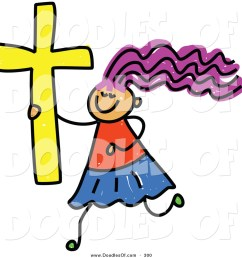 1024x1044 vector clipart of a childs sketch of a happy christian girl by [ 1024 x 1044 Pixel ]