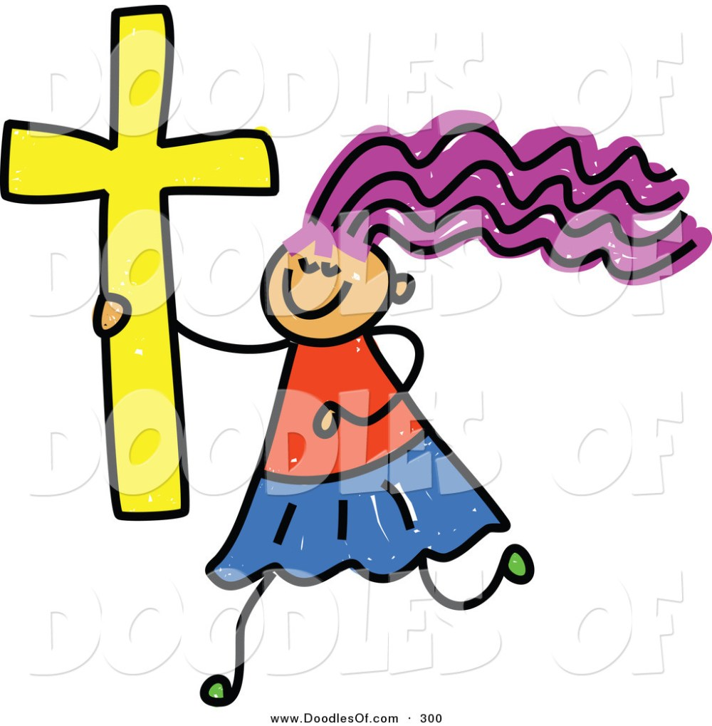medium resolution of 1024x1044 vector clipart of a childs sketch of a happy christian girl by