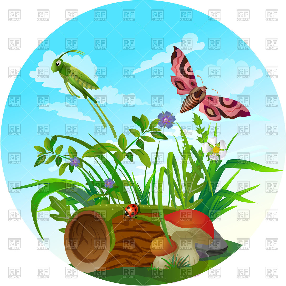 hight resolution of 1200x1200 nature icon insect life in forest royalty free vector clip art