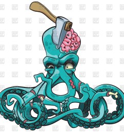 1200x1176 ugly octopus zombie with axe in his head royalty free vector clip [ 1200 x 1176 Pixel ]