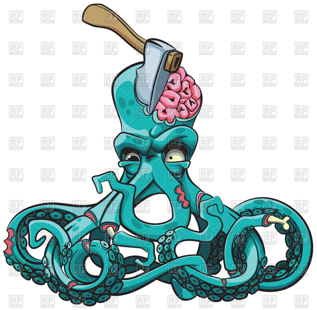 hight resolution of 1200x1176 ugly octopus zombie with axe in his head royalty free vector clip