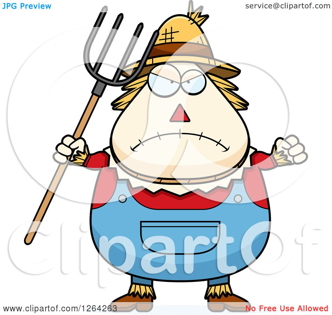 hight resolution of 1080x1024 clipart of a mad cartoon chubby scarecrow holding up a fist