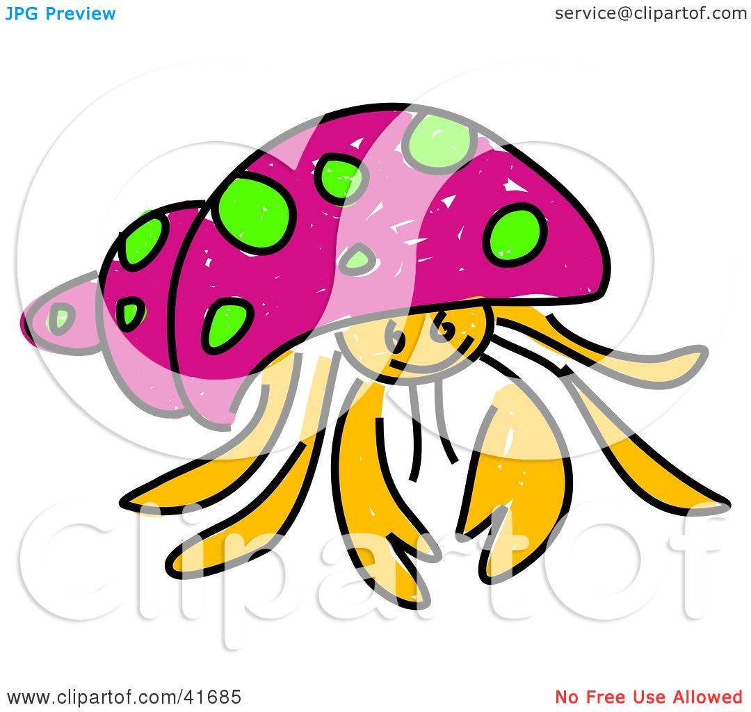 hight resolution of 1080x1024 clipart illustration of a sketched pink hermit crab by prawny
