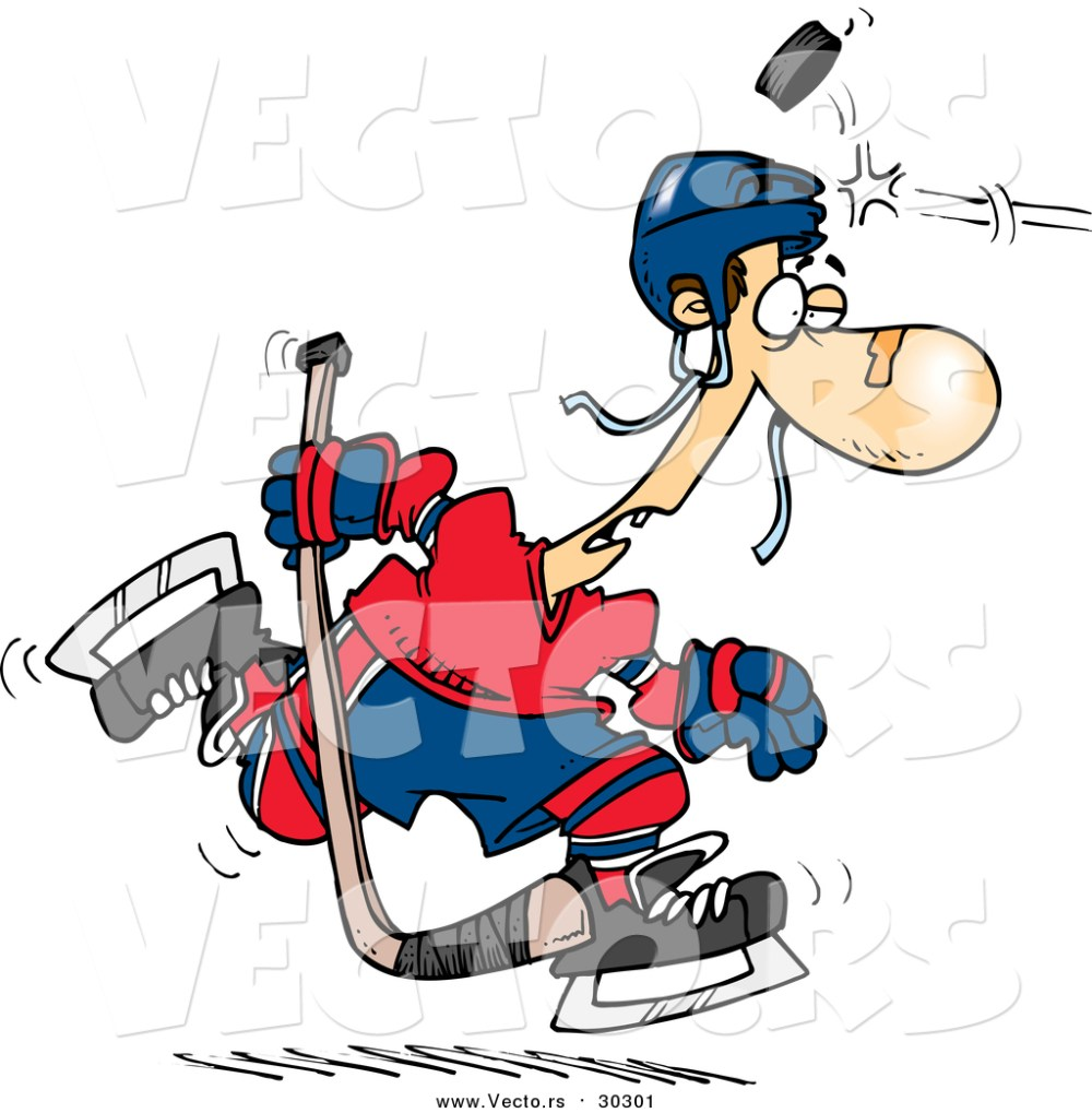 medium resolution of 1024x1044 vector of a cartoon puck hitting a hockey player on the head by