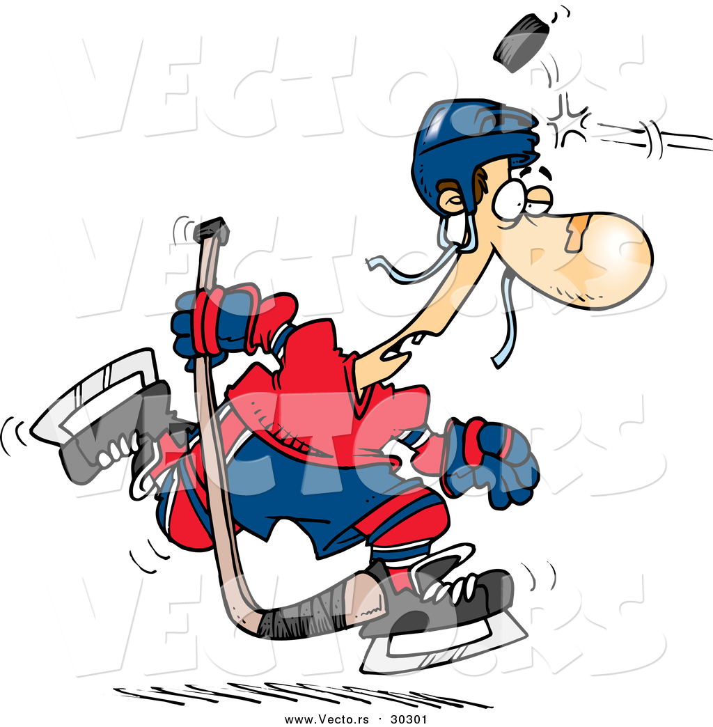 hight resolution of 1024x1044 vector of a cartoon puck hitting a hockey player on the head by